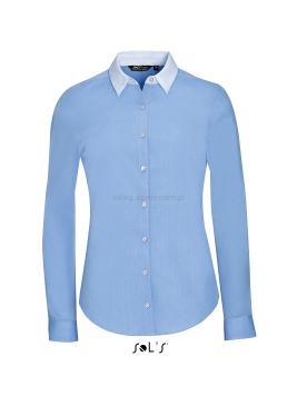 Koszula damska z podwójnym kołnierzykiem w kontrastującym kolorze błękitna